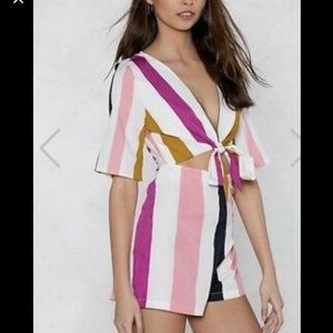 NWT Nasty Gal tie front striped romper